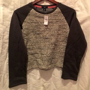 GAP sweatshirt gray cream sparkle XL girls 12 NWT